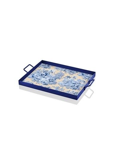 The Mia Tepsi Colonie Desen 30 x 20 Cm -Mavi Mavi